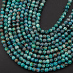 "Rare Natural Shattuckite 4mm Beads Round Blue Azurite Chrysocolla Gemstone From Arizona 16"" Strand"