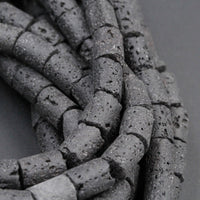 "Large Lava Tube Cylinder Beads Raw Rough Porous Natural Black Lava Stone Organic Earthy Stone 16"" Strand"