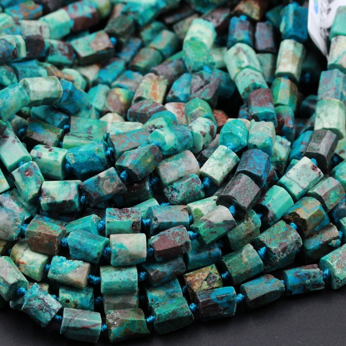 "Organic Cut Rough Raw Natural Chrysocolla Rectangle Nugget Hand Cut Matte Faceted Tube Blue Green Gemstone Nugget Freeform Beads 16"" Strand"