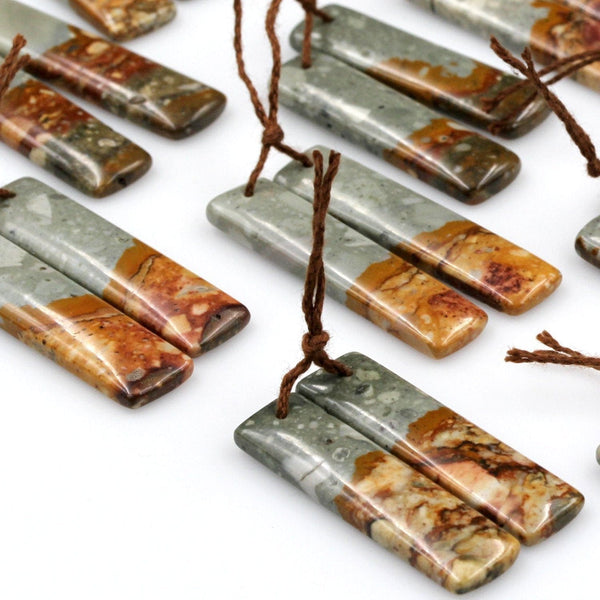 Natural Owyhee Picture Jasper Earring Pair Gemstone Drilled Earring Cabochon Cab Pair Rectangle Matched Earring Bead Pair From Oregon