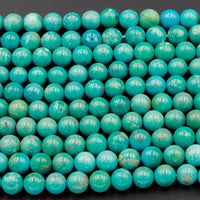 "Natural Blue Green Turquoise 7mm 8mm Round Beads Real Genuine Turquoise Gemstone 16"" Strand"