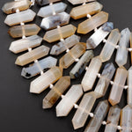 "Natural Montana Agate Beads Faceted Double Terminated Pointed Large Long Pendant Top Side Drilled Bead Bullet 16"" Strand"