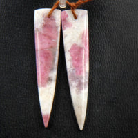 Natural Pink Tourmaline in Quartz Earring Pair Creative Modern Dagger Long Triangle Cabochon Cab Pair Drilled Matched Earring Pair