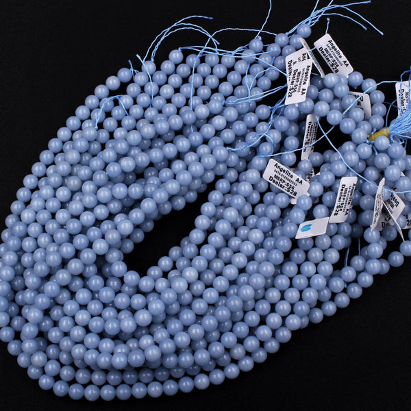 "AA Grade Natural Blue Angelite 8mm 10mm Round Beads High Quality Spheres Beads Canadian Angel Stone Soft Pastel Blue 16"" Strand"