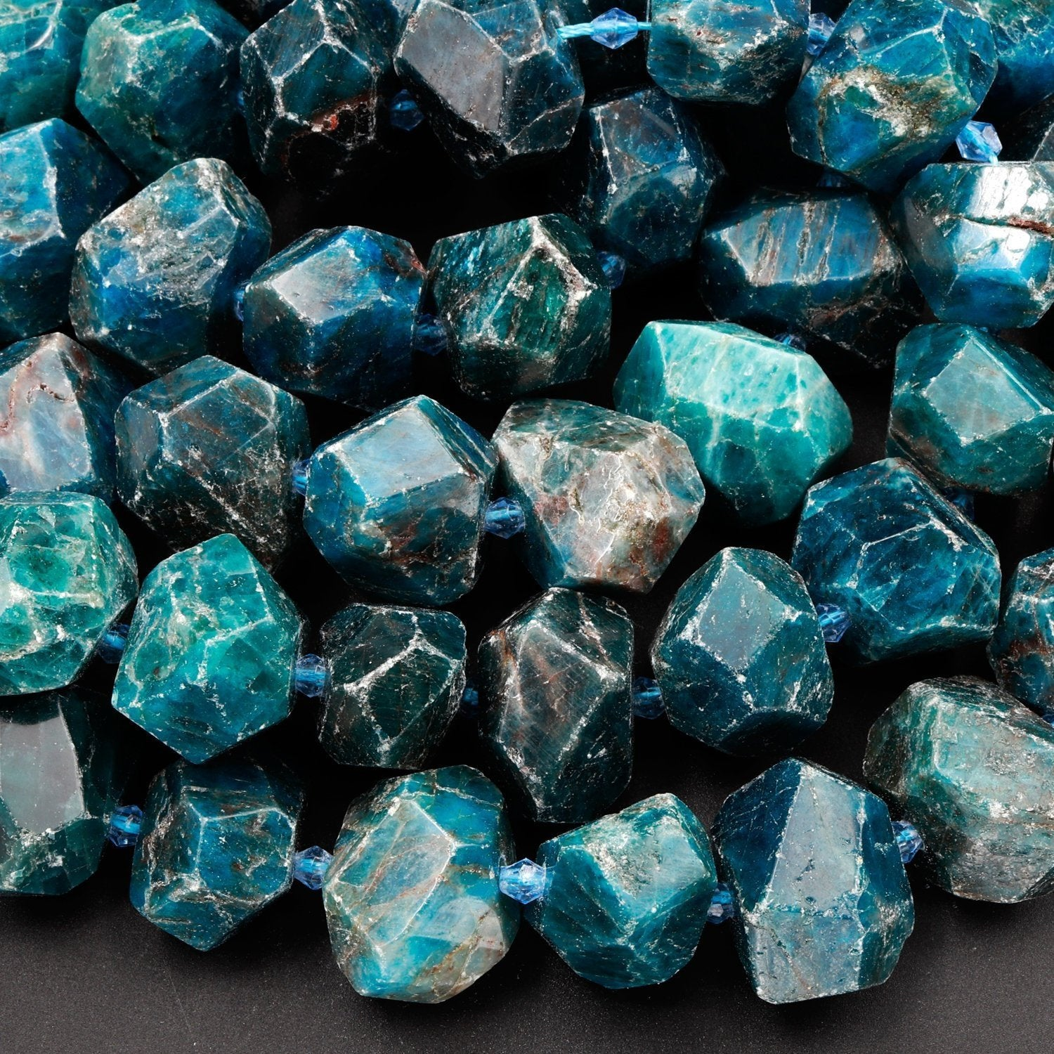 7 Inch Strand,Natural Blue Green Apatite Faceted Fancy Nuggets Shape Size 7-8mm