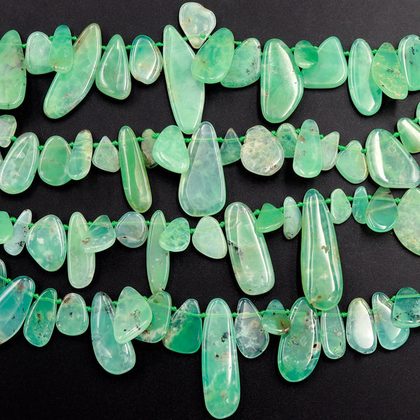 "Gemmy! Natural Australian Chrysoprase Beads Side Drilled Freeform Teardrop Drop Nugget Focal Bead Pendant Statement Necklace 16"" Strand"