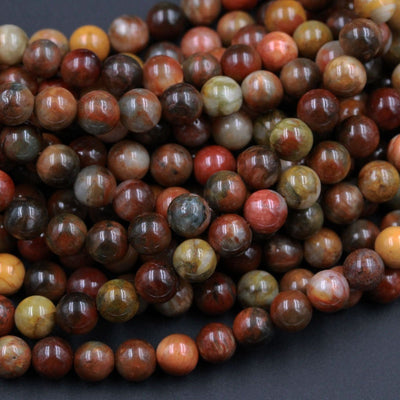 "Rare Natural Red Brown Yellow Eagle Eye 6mm Round Beads Nice Polish Chatoyant Stone 16"" Strand"