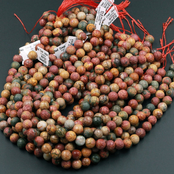 "Matte Faceted Red Creek Jasper Beads 6mm Matte Faceted 8mm 10mm Round Red Green Yellow Brown Natural Multi Color Picasso Jasper 16"" Strand"