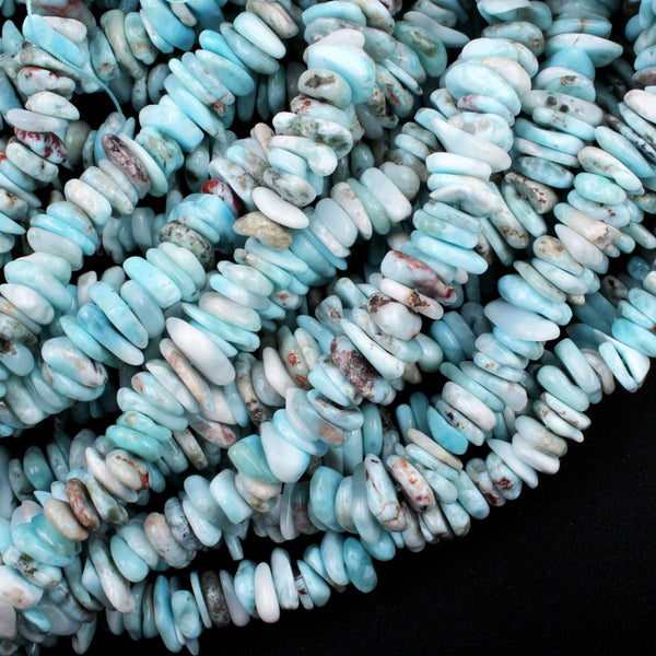 "Genuine 100% Natural Blue Larimar Beads Freeform Rondelle Nuggets Large Chunky Center Dilled Freeform Chip Real Larimar Stone 16"" Strand"