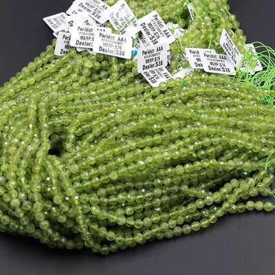 "Stunning Natural Green Peridot 5mm 6mm Faceted Round Beads Micro Faceted Laser Diamond Cut Real Genuine Peridot Gemstone 16"" Strand"