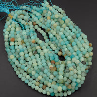 "Large Hole Beads A Grade Natural Blue Amazonite 8mm 10mm Matte Round Beads Big 2.5mm Hole 16"" Strand"