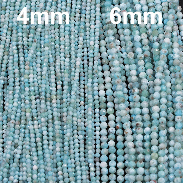 "Natural Larimar Beads Micro Faceted Small 3mm Faceted 5mm Faceted Round Beads Genuine Natural Blue Larimar Gemstone A Grade 16"" Strand"