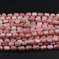 "Raw Organic Rough Cut Natural Peruvian Pink Opal Tube Beads Matte Finish Faceted Nuggets Tube Gemstone Beads 16"" Strand"