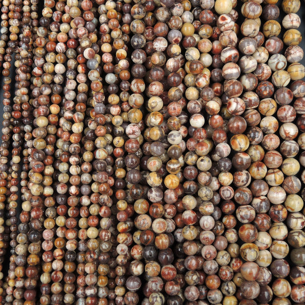 "Natural Bird's Eye Rhyolite Beads 4mm Round Beads, 6mm Round Beads, 8mm Round Beads, 10mm Round Beads 16"" Strand"