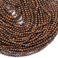 "Natural Bronzite Beads Faceted 4mm Round High Quality A Grade 16"" Strand"