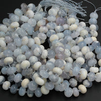 "Icy! Natural Blue Angel Chalcedony Beads Rounded Rondelle Large Thick Chunky Smooth Beads 14mm Gemmy Blue Gemstone 16"" Strand"
