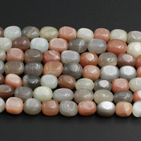 "Multicolor Peach Gray White Moonstone Nugget Beads Large Chunky Freeform Rectangle Nuggets Silvery Chatoyant Natural Moonstone 16"" Strand"