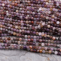 "Rare Natural Auralite 23 Cacoxenite Gemstone 4mm Round Beads Powerful Healing Gemstone World's Oldest Crystal 16"" Strand"