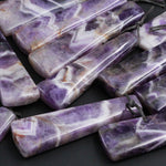Natural Cheveron Amethyst Pendant Side Drilled Long Linear Trapezoid Pendant Striking White Purple Pattern Gemstone Focal Bead Pendant Stone