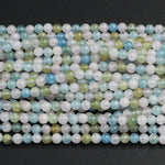 "Pastel Beryl Blue Yellow Green Aquamarine Pink Morganite 4mm Round Beads Real Genuine Natural Beryl Aquamarine Morganite Gemstone 16"" Strand"
