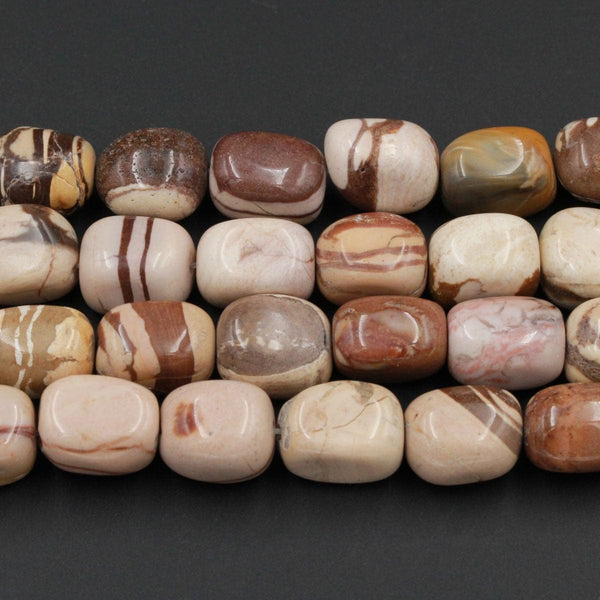 "Natural Zebra Jasper Nuggets Chunky Large Rectangle Square Beads Smooth Tumbled Cube Chunky Brown Beige Beads 16"" Strand"
