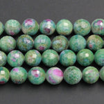 "Large Faceted Natural Ruby Fuchsite Beads Round 10mm 12mm Faceted Round Beads Red Ruby Green Fuchsite Gemstone Fuschite 16"" Strand"