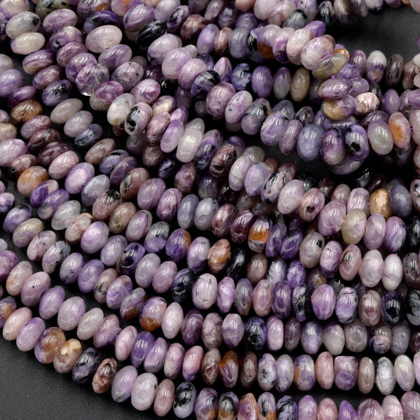 "Natural Charorite Rondelle Beads High Quality Purple Russian Charoite 6mm Rondelle beads Natural Purple Gemstone 16"" Strand"
