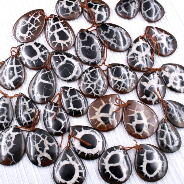 Natural Septarian Fossil Large Earring Pair Cabochon Cab Pair Drilled Teardrop Matched Earrings Black White Pattern Bead Pair