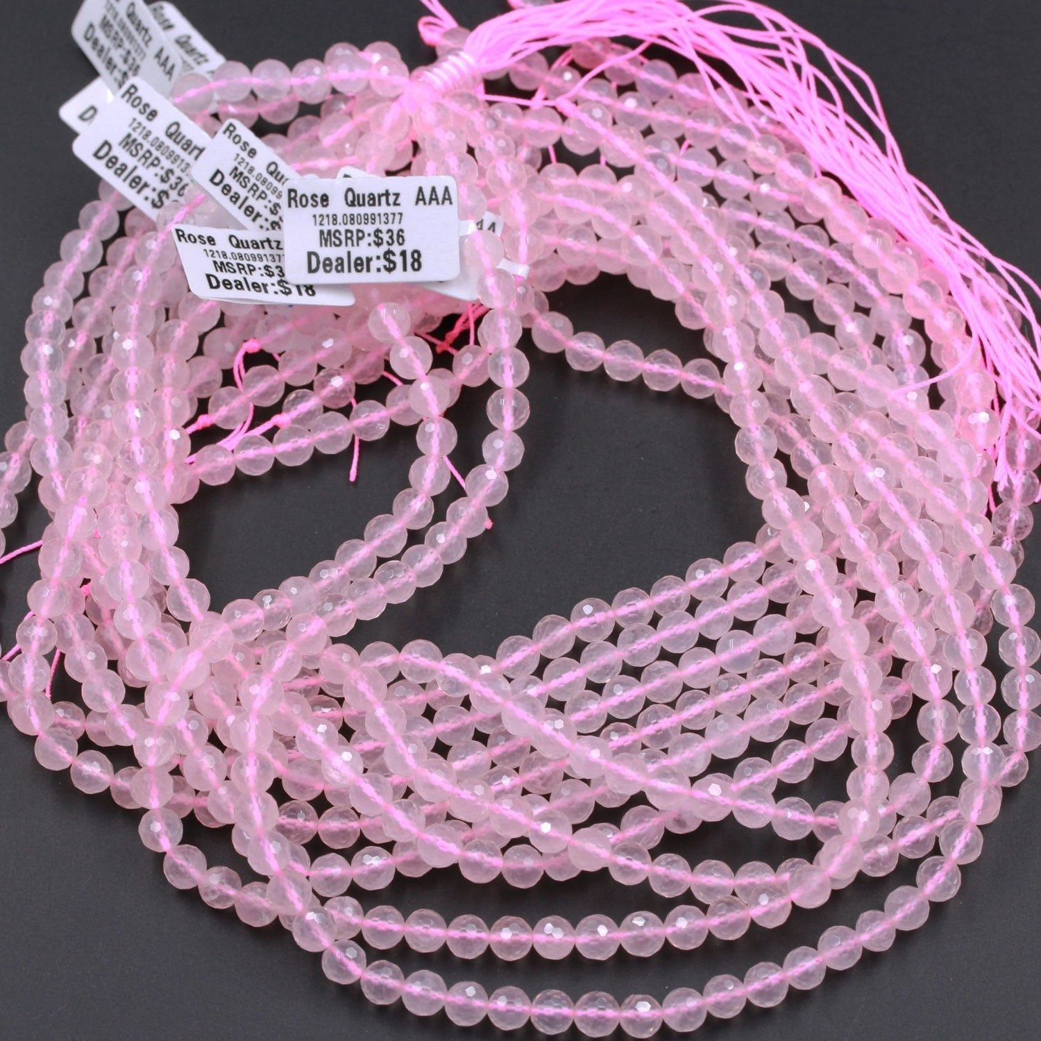"AAA Micro Faceted Natural Madagascar Pink Rose Quartz 6mm Round Beads Laser Diamond Cut High Quality Natural Pink Gemstone 16"" Strand"