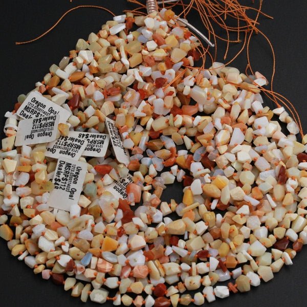 "Natural Oregon Opal Beads Faceted Freeform Nugget Rich Yellow Red Orange Opal Beads Genuine Opal from Oregon 16"" Strand"