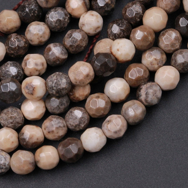 "Natural Sheep Skin Jasper Beads Faceted 4mm Round Beads Earthy Brown Grey Beige Tan Taupe Beads 16"" Strand"