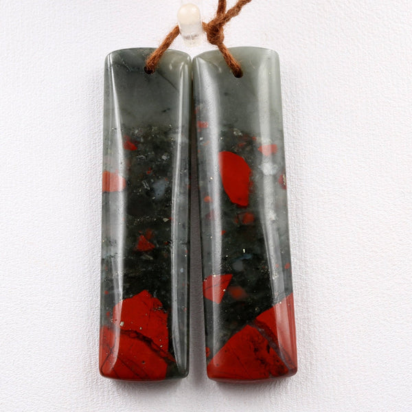 Drilled Gemstone Earring Pair Natural African Bloodstone Matched Pair Long Rectangle Earring Beads