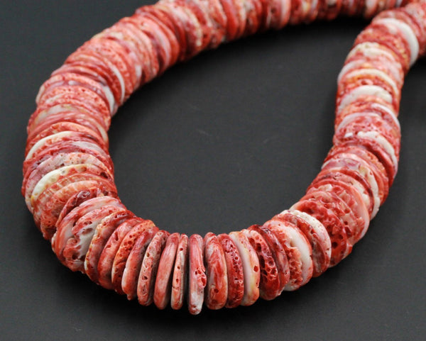 "Large Statement Rusty Red Spiny Oyster Beads Heishi Thin Discs Rondelles Real Genuine Natural Red Spiny Oyster Graduated 24"" Strand"