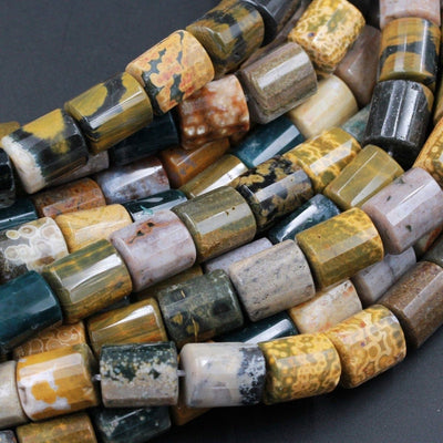 "Natural Ocean Jasper Beads Faceted Cylinder Tube Drum Nuggets Vibrant Green Yellow Red Brown High Quality Ocean Jasper Gemstone 16"" Strand"