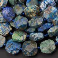 "Azurite Beads Octagon Shape Faceted Square Nuggets Rare Energy Stone Genuine Real 100% Natural Blue Lightening Azurite Beads 16"" Strand"
