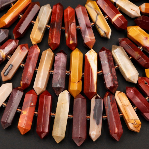 "Natural Australian Mookaite Jasper Beads Faceted Double Terminated Points Large Long Healing Focal Pendant Bullet Hexagon Bicone 16"" Strand"