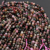 "Natural Multicolor Pink Green Blue Tourmaline Round Beads 4mm Colorful Real Genuine Tourmaline Gemstone Beads 16"" Strand"