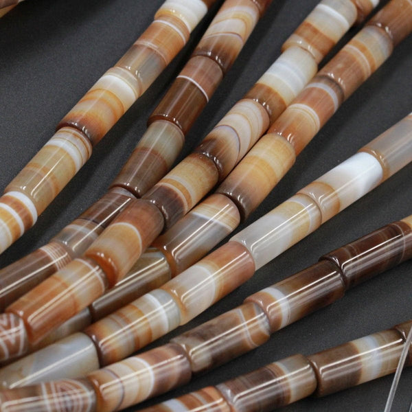 "Natural Tibetan Agate Beads Highly Polished Smooth Long Drum Barrel Tube Nuggets Amazing Veins Bands Stripes Brown White Agate 16"" Strand"