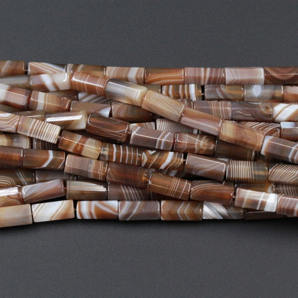 "Tibetan Agate Beads Highly Polished Faceted Tube Nuggets Amazing Veins Bands Stripes High Quality Brown White Bead 16"" Strand"