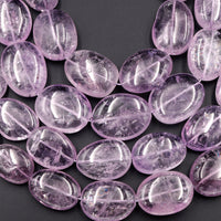 "Huge Natural Amethyst Beads 30mm Large Puffy Oval Egg Rounded Nugget Real Genuine Natural Purple Amethyst Gemstone 16"" Strand"