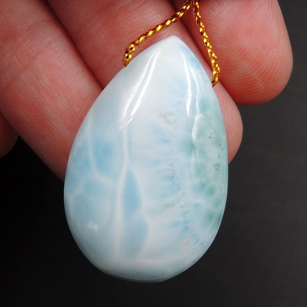 Natural AAA+ Quality Blue Larimar Pendant Stone Side Drilled Teardrop Pendant Hand Cut Large Focal Bead Stone P1945