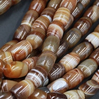 "Large Natural Tibetan Agate Beads Highly Polished Smooth Drum Barrel Tube Nuggets Amazing Veins Bands Stripes Brown White Agate 16"" Strand"