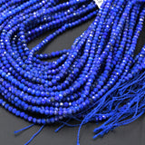 "AA Micro Faceted Natural Blue Lapis Lazuli Round Beads Tiny Small 2mm 3mm Faceted Rondelle Round Beads Diamond Cut Blue Gemstone 16"" Strand"