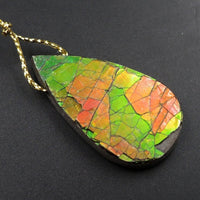Iridescent Red Green Ammolite Pendant Large Side Drilled Teardrop Pendant Focal Bead Organic Gemstone Flashy Colors Real Genuine P1934