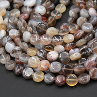 "Natural Botswana Agate Beads 8mm Coin Small Puffy Coin Disc Beads 16"" Strand"