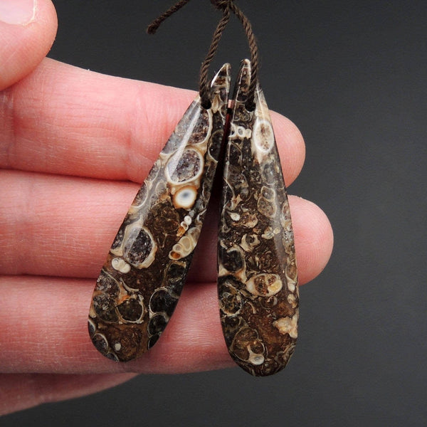 Natural Turritella Agate Fossil Earring Pair Cabochon Cab Pair Drilled Teardrop Matched Earrings Bead Pair E2440