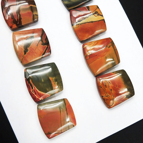 Undrilled Natural Red Creek Jasper Pendant Cabochon Set Trapezoid Ring Cab Pendant Bead Picasso Jasper Cherry Creek Jasper Pendant Set C64