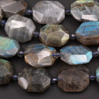 "Natural Labradorite Faceted Slab Cushion Rectangle Rectangular Nugget Slice Pendant Focal Beads Dark Labradorite 16"" Strand"
