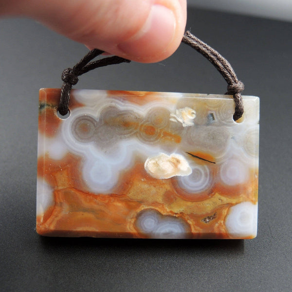 Natural Ocean Jasper Pendant Peach White Orbs Drilled Faceted Rectangle Pendant 2 Hole Pendant P397