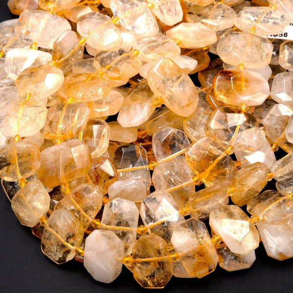 "Natural Golden Citrine Rectangle Octagon Bead Geometric Cut Large Nugget Yellow Citrine Gemstone Flat thin Slice Super Gemmy 16"" Strand"